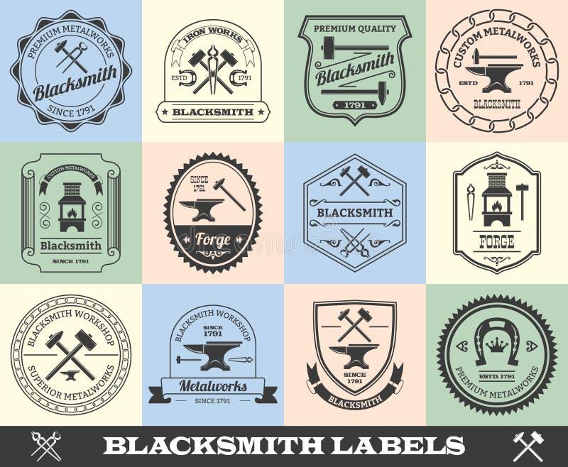 Hovslagare Label Set royaltyfri illustrationer