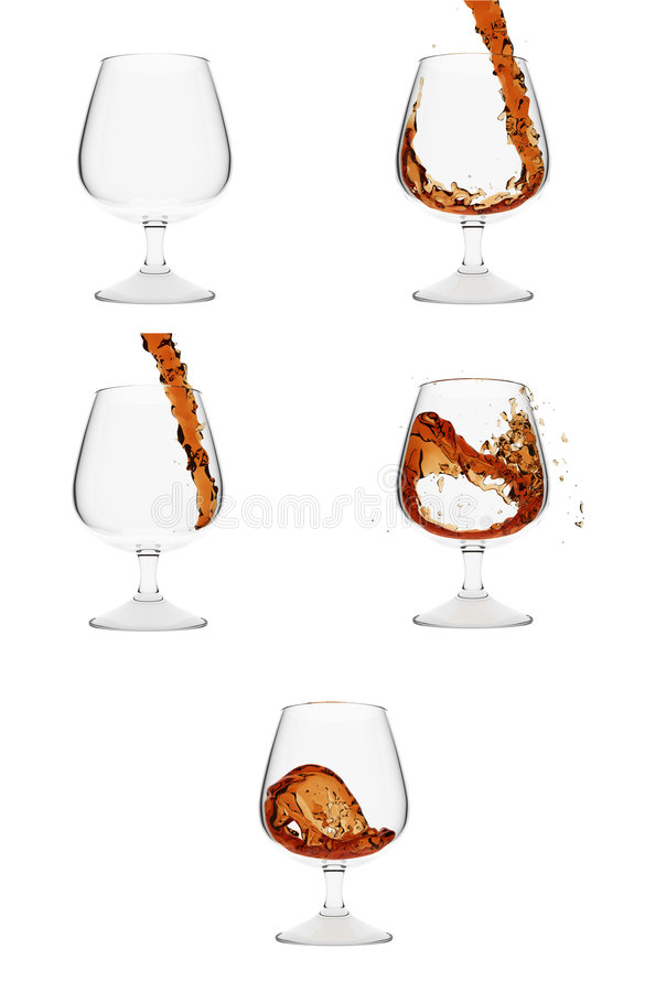 Download How Brandy Gets Into Glass. 5 Stages Stock Illustration - Image: 7417189