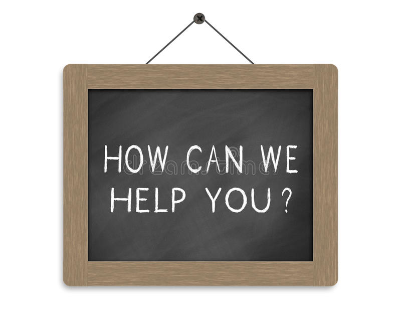 How can we help you. Written on blackboard royalty free illustration