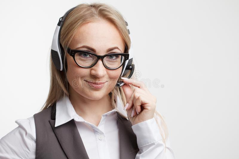 How can I help you. Call center operator against white backgroun royalty free stock photos