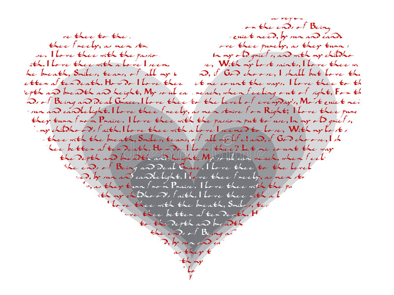 How do i love thee poem valentine. 'how do i love thee' poem valentine - illustration royalty free illustration