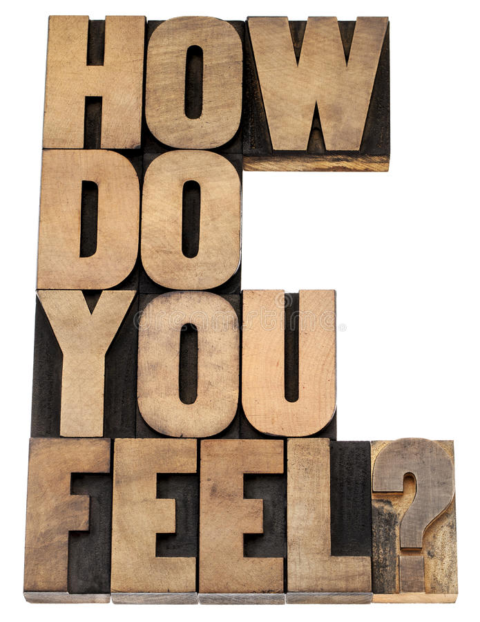 How do you feel question. Isolated tex in vintage letterpress wood type royalty free stock image