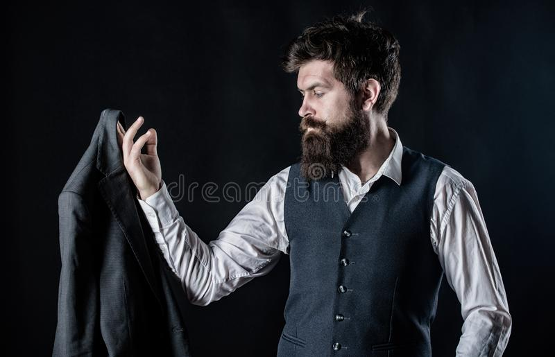 How do you like this. Bearded man gentleman. Designer tailoring suit. Mature hipster with beard. Male formal fashion. Brutal caucasian hipster with moustache stock photo