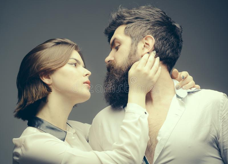 How grow great beard. Beard grooming has never been so easy. Girl barber enjoy brutal bearded hipsters style. Barber. Expert grooming tips. Beard care tricks stock photography