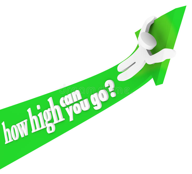 Download How High Can You Go Person Riding Arrow Up Stock Photography - Image: 35557402