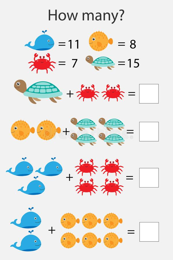 How many counting game with ocean animals for kids, educational maths task for the development of logical thinking, preschool vector illustration