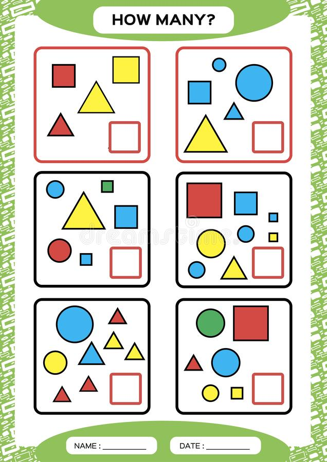 How Many. Counting Game for Preschool Children. Educational math game. Count the shapes in the picture and write the. Result. green. Vector stock illustration