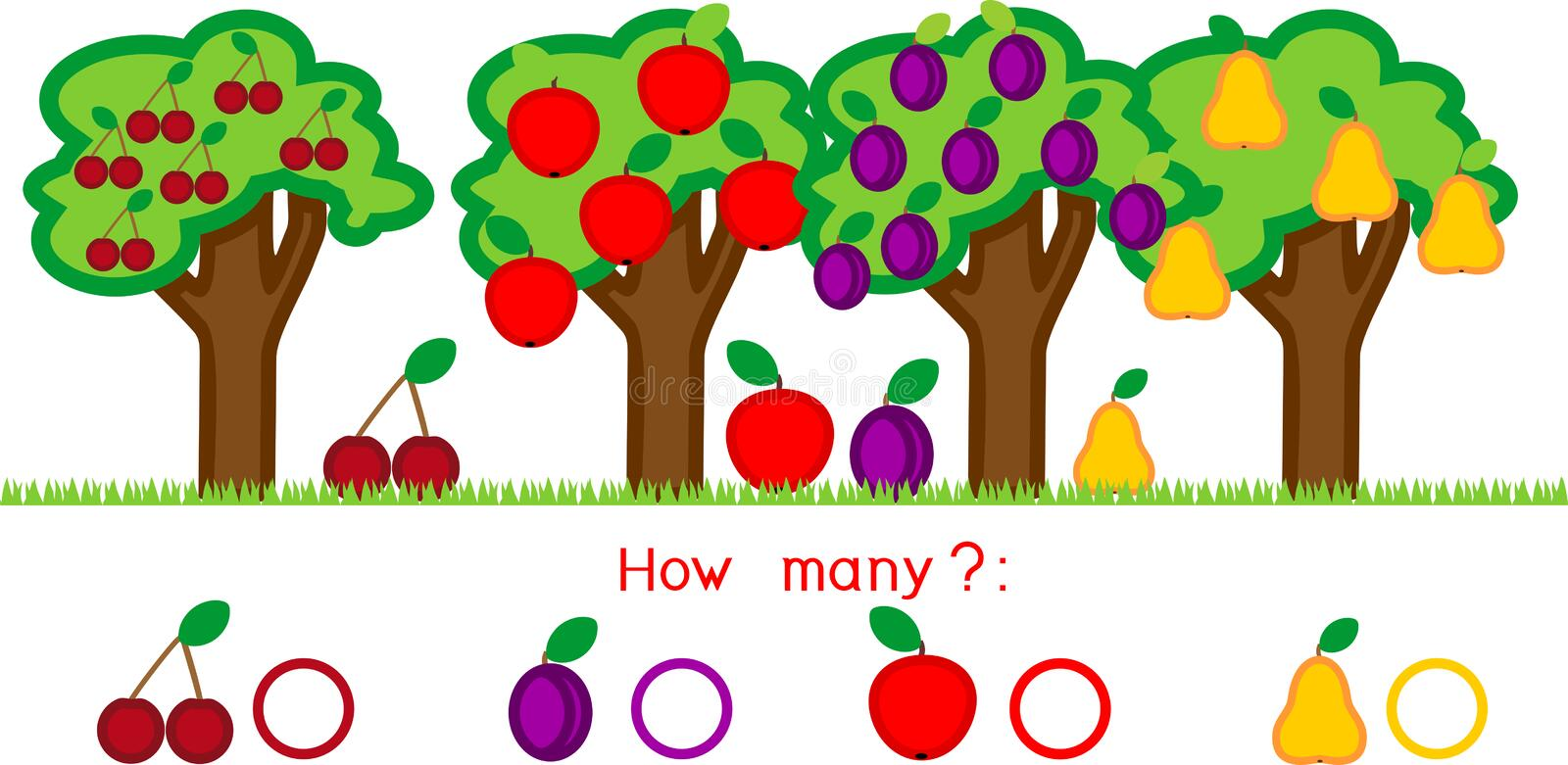 How many different fruits on trees. Counting educational game with different fruits stock illustration