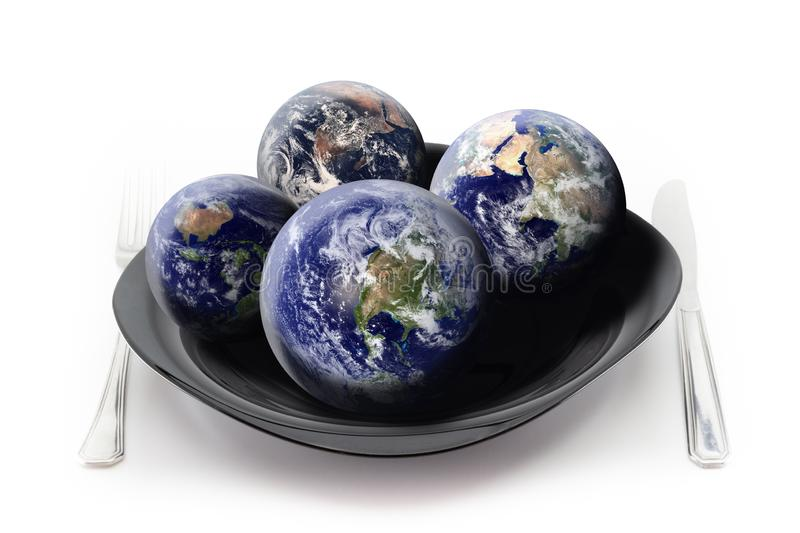 How many Earths do we need to satisfy our hunger?. How many Earths do we need to consume to satisfy our hunger? Concept about the overuse of our Planet. Isolated royalty free stock image