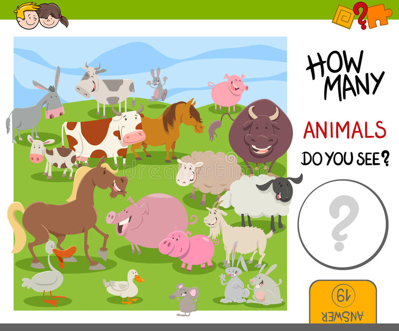 How Many Farm Animals Game Stock Vector