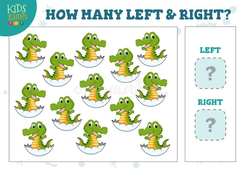 How many left and right cartoon crocodile in the egg kids counting game vector illustration. Development activity for preschool children with counting objects royalty free illustration