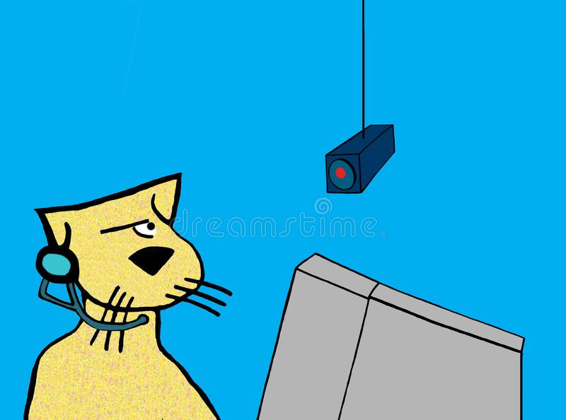 Cat is being spied on. Call center cat is being monitored stock illustration