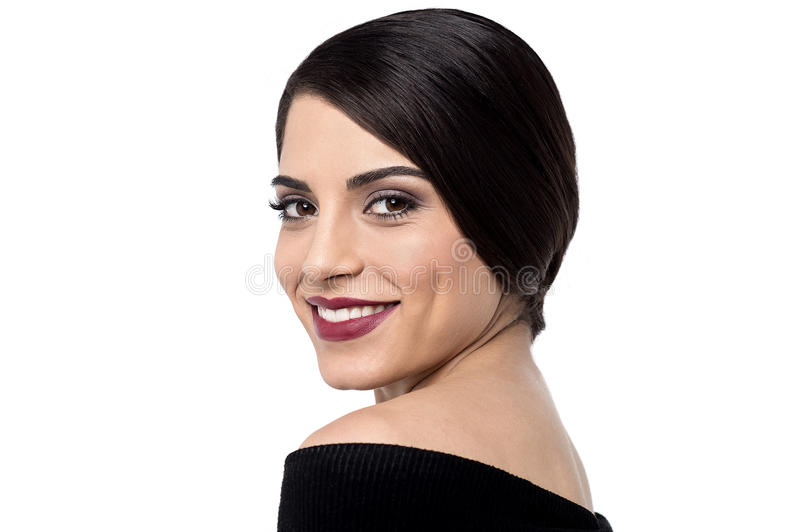 How is my make up ?. Close up image of woman posing to camera royalty free stock photography