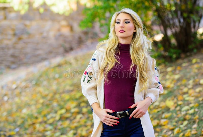 How repair bleached hair fast and safely. Autumn hair care is important so as to avoid dry frizzy hair. Girl fashionable. Blonde walk in autumn park. Long hair royalty free stock photography
