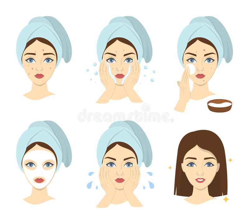 How to apply face mask instrustion for women. Step-by-step guide to facial cream mask usage. Skin care and acne treatment. Isolated vector illustration royalty free illustration