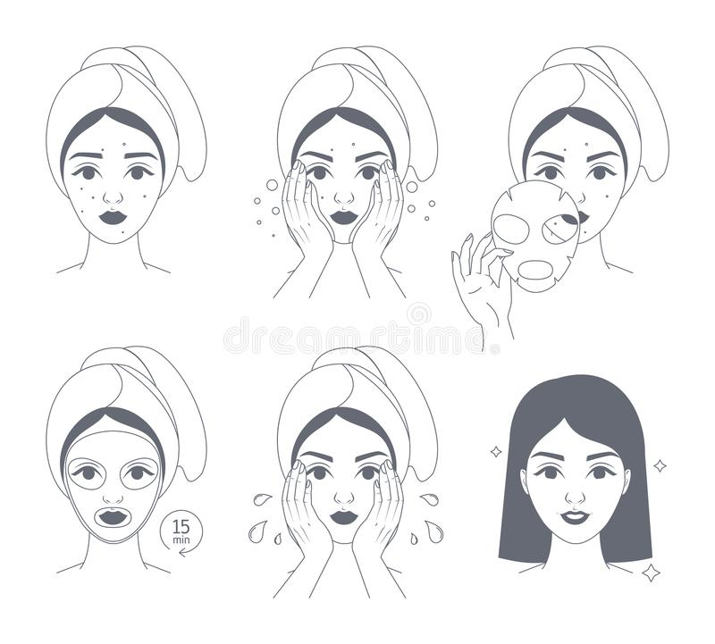 How to apply face mask instrustion for women. Step-by-step guide to facial mask usage. Skin care and acne treatment. Beauty and health. Isolated line vector royalty free illustration