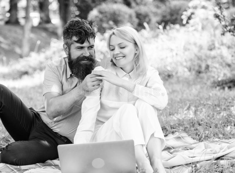 How to balance freelance and family life. Couple in love or family work freelance. Freelance life benefit concept. Modern online business. Couple youth spend stock photos