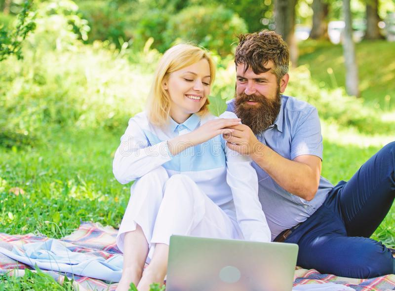 How to balance freelance and family life. Couple in love or family work freelance. Freelance life benefit concept. Modern online business. Couple youth spend royalty free stock photo