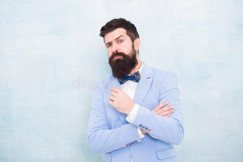 How to beat nerves on wedding day. Man bearded hipster formal suit with bow tie. Wedding fashion. Formal style perfect. Outfit. Impeccable groom. Tips for stock image