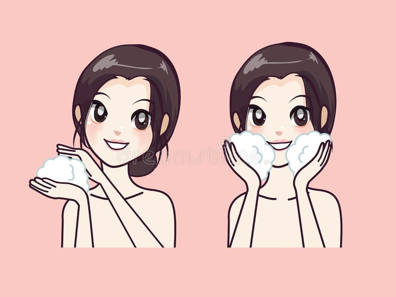 How to beauty Step facial cleansing by beautiful women. Step facial cleansing, facial acne treatment, face healthy and look younger vector illustration