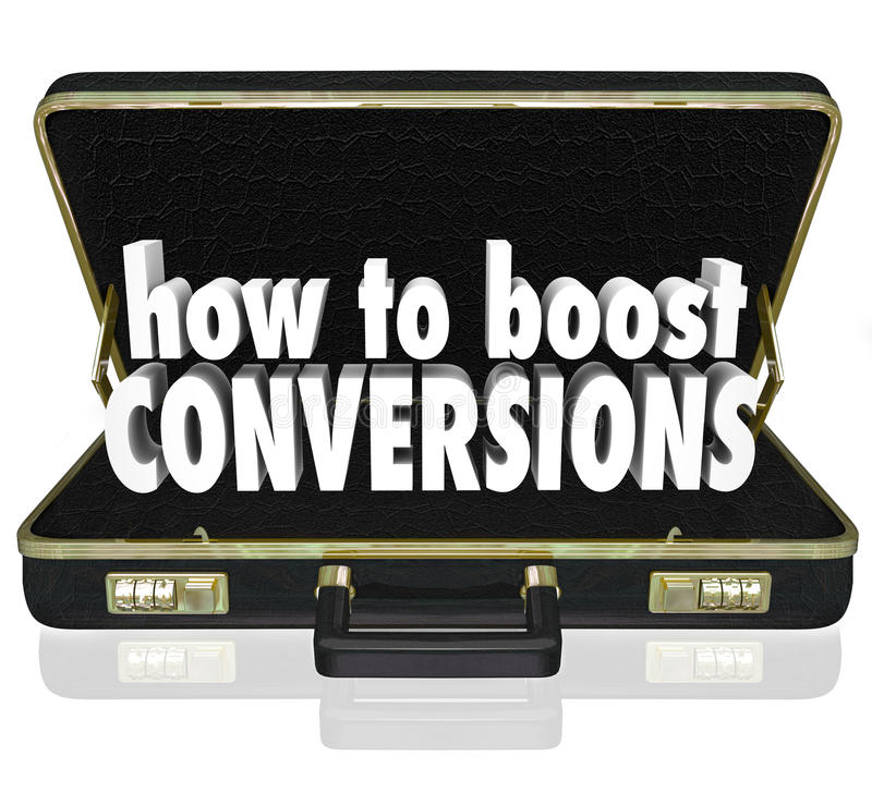 How to Boost Conversions Briefcase Increase Sales Closing Rate. How to Boost Conversions words in 3d letters inside a black leather business briefcase to vector illustration