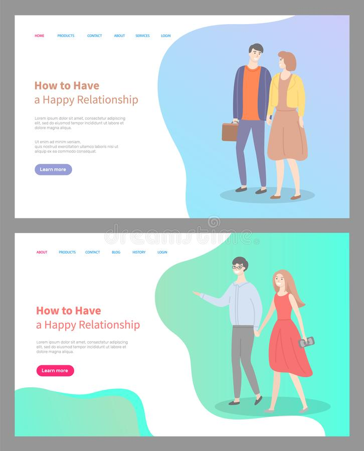 How to Build Happy Relationship Couple in Love stock illustration