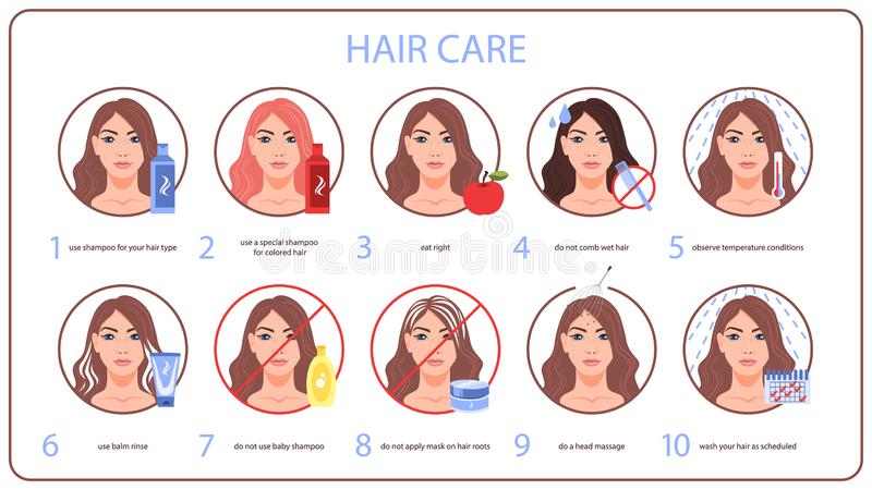 How to care for your hair tips for woman with long hair vector illustration
