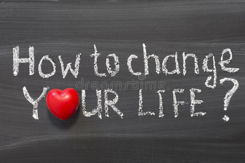 How to change your life. Question handwritten on school blackboard royalty free stock photo