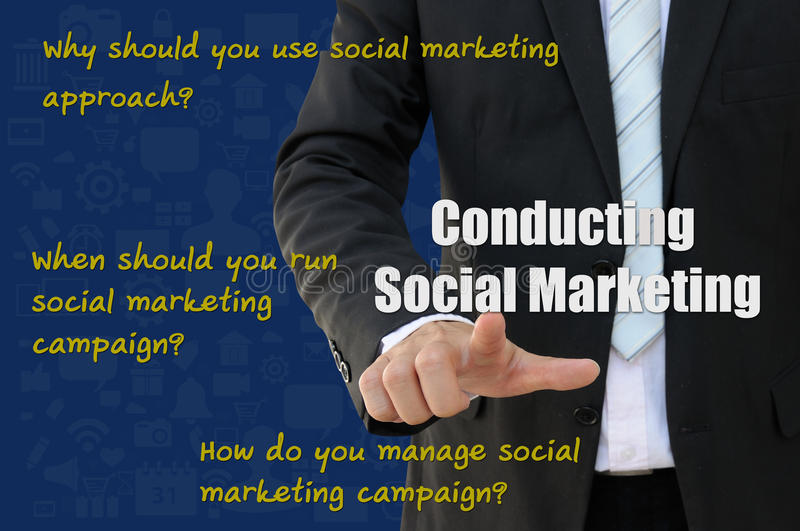 How to conduct social marketing campaign. Social Marketing for how to conduct campaign, online marketing of business concept royalty free stock photography