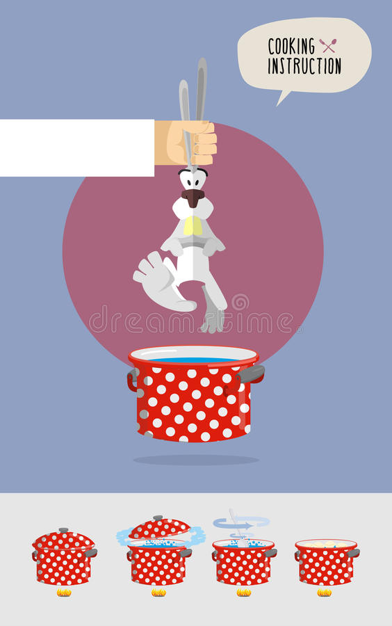 How to cook soup from rabbit fur. Cooks hand holding a rabbit o stock illustration