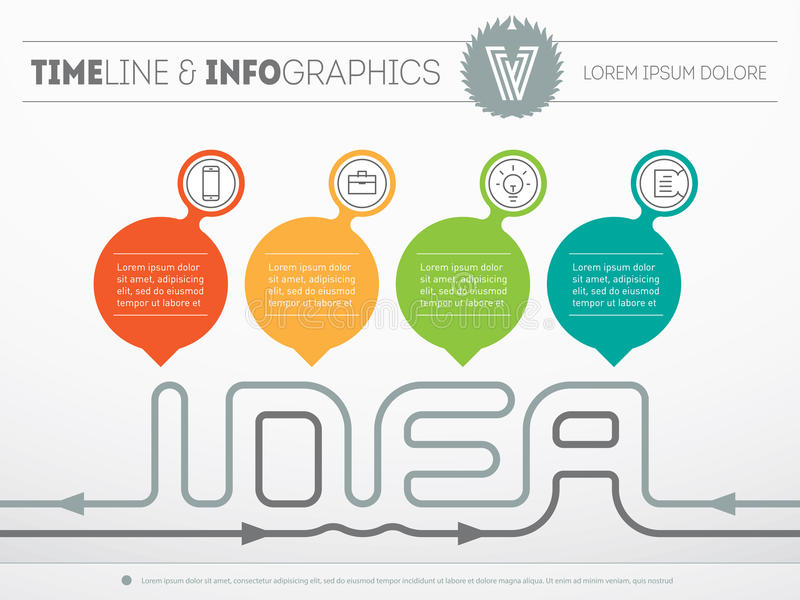 How to create a creative idea - Vector web template of Infographic with four parts. Time line with icons and design elements on l royalty free illustration