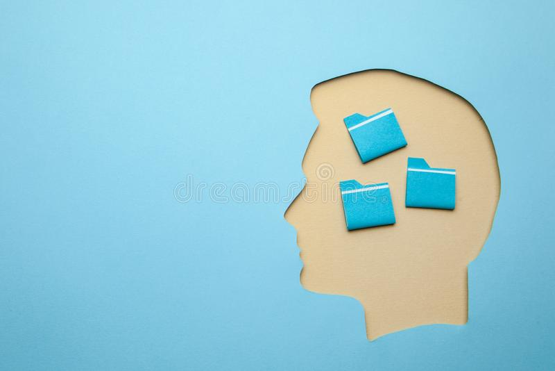 How to develop memory. How to properly organize information in my head. Head with papacmi inside. Copy space for text royalty free stock image