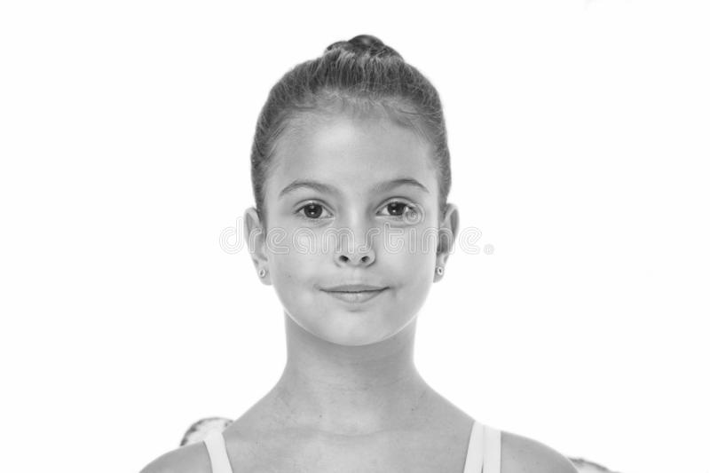 How to do ballet bun. Proper hairstyle for pupil ballerina. Make proper hairstyle visit ballet classes. Girl cute. Smiling face with neat and tidy bun hair stock photography