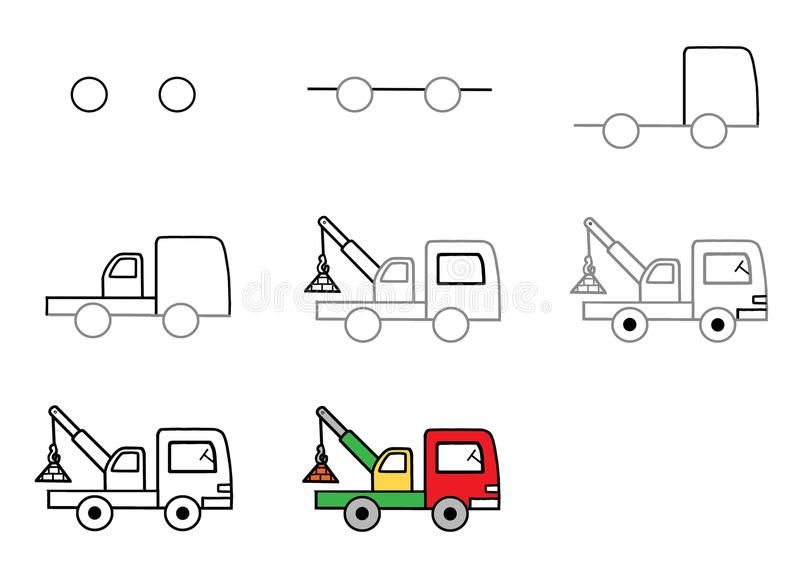 How to draw a car. Step-by-step instruction. Tap. Coloring Color stock photos