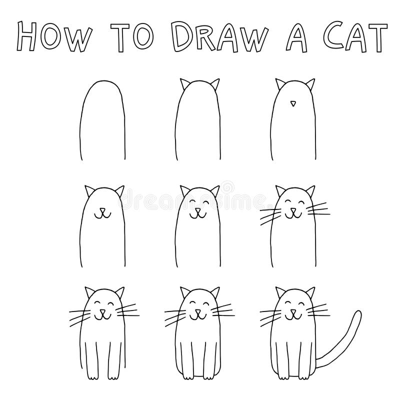 Download how to draw a cat stock vector illustration of cartoon 99744697