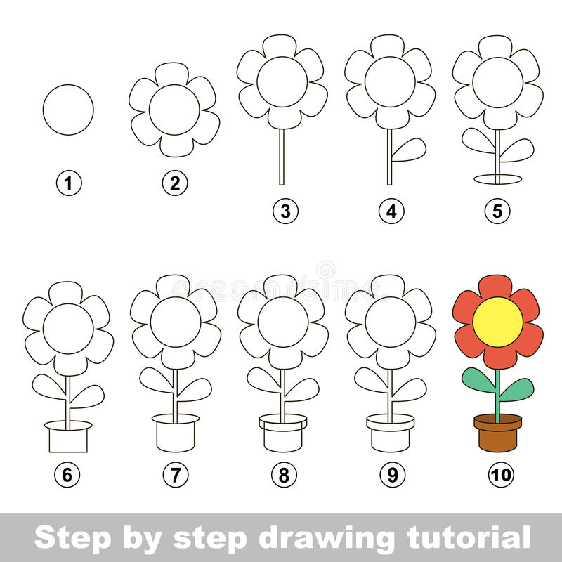 Visual game for kids how to draw a pot flower