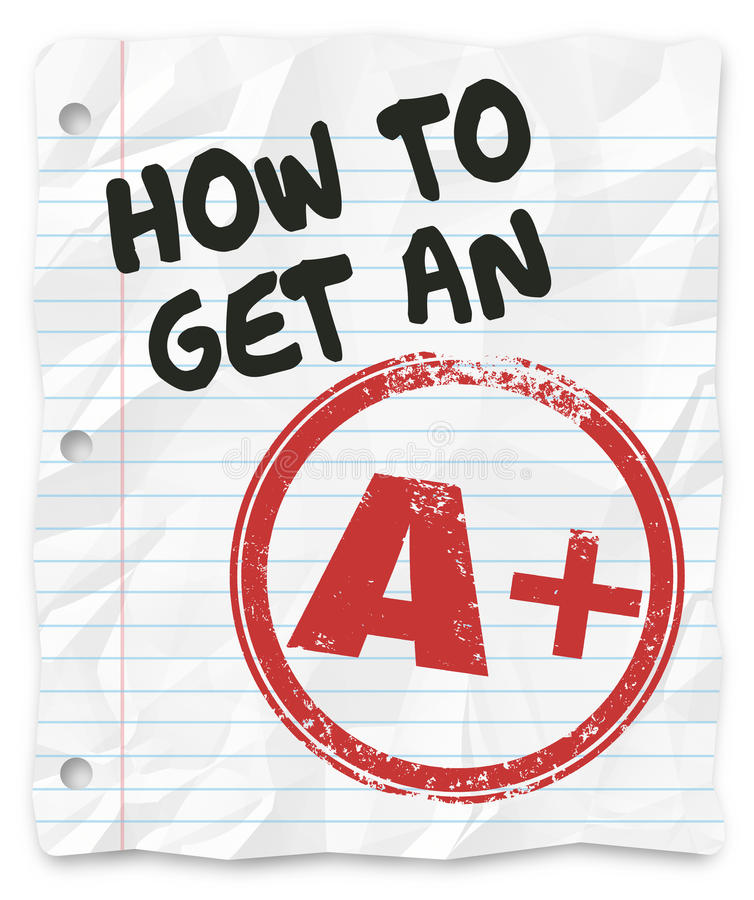 How to Get An A Plus Grade Score School Paper Report. How to Get an A Plus grade or score on a school test, report, exam or other written assignment stock illustration