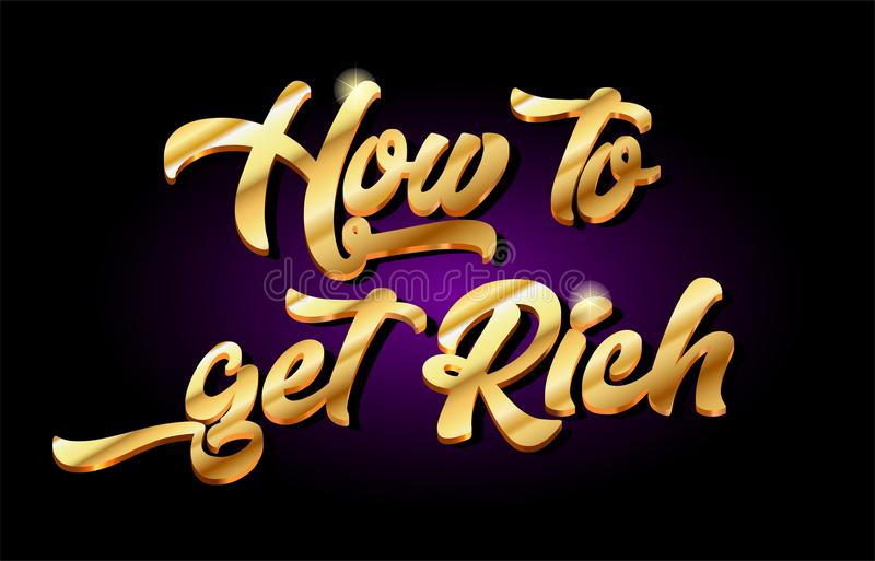 how to get rich 3d gold golden text metal logo icon design handwritten typography royalty free illustration