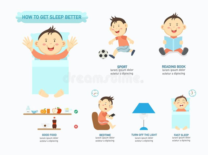 How to get sleep infographic stock illustration