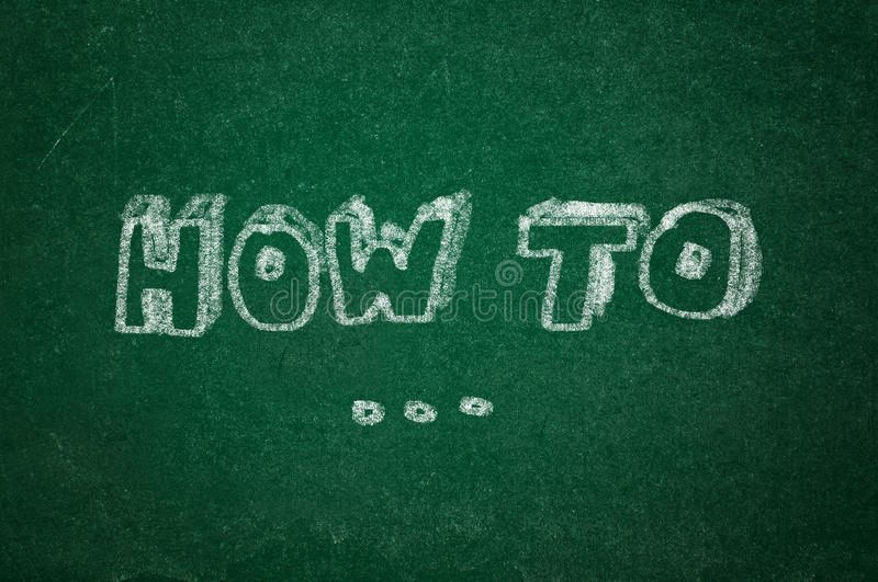 How to on green chalkboard. How to question on green chalkboard background royalty free stock image