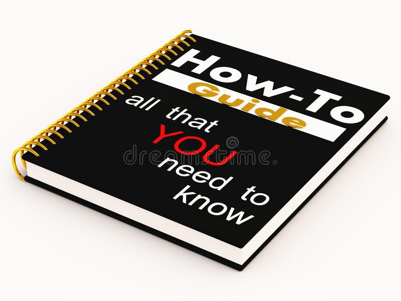 How to guide. Manual or guide with how to instructions in black color, golden spiral binding