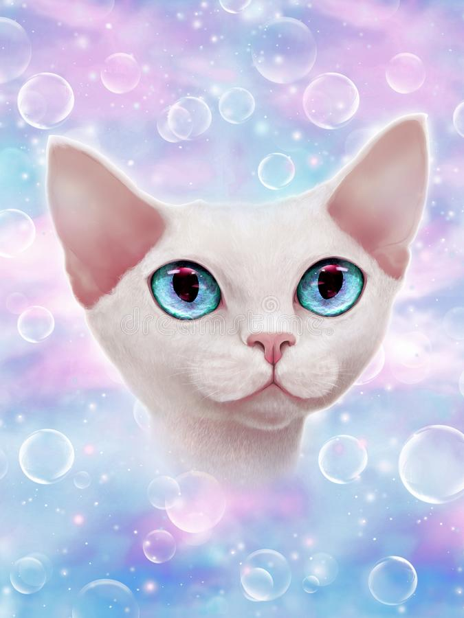 How to increase your positive vibes? Cosmic universe cat vector illustration