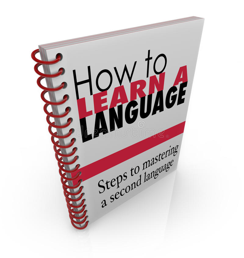 How to Learn a New Language Book Manual stock illustration
