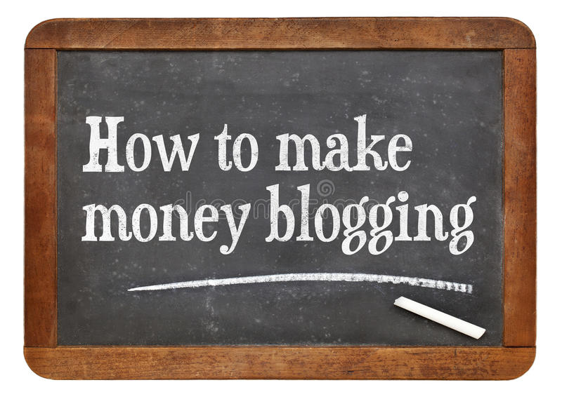 How to make money blogging. Text on a vintage slate blackboard royalty free stock photo