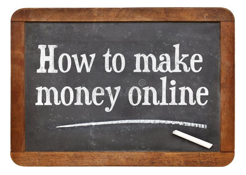 How to make money online. White chalk text on a vintage slate blackboard stock photo