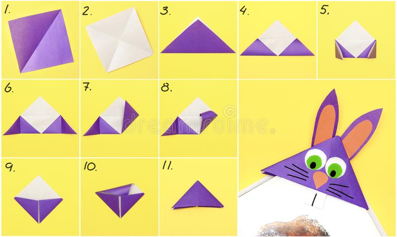 How to make Origami paper bookmark form of bunny for Easter greetings. DIY concept. Step by step photo instruction. How to make Origami paper bookmark form of royalty free stock photo