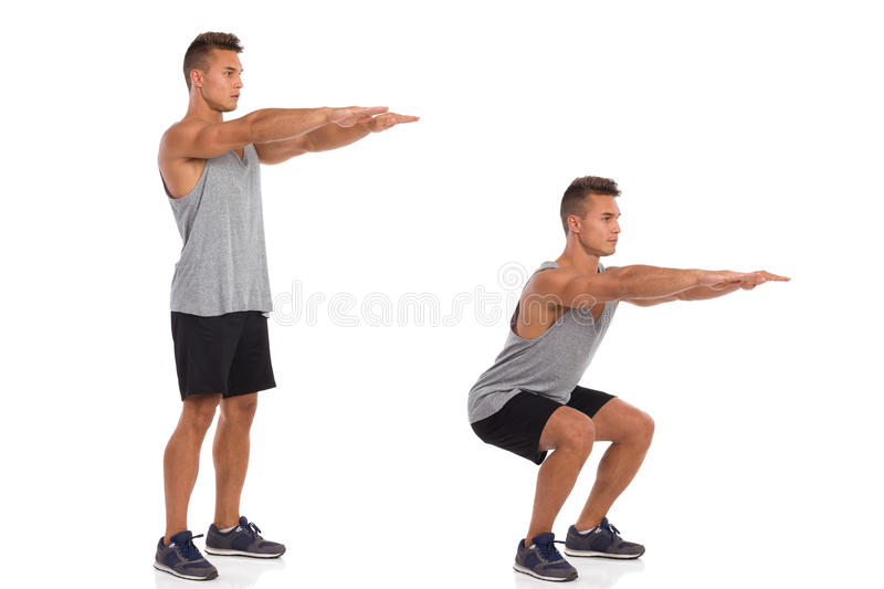 How To Make a Squat. Muscular man showing a squat exercise, side view, step by step. Full length studio shot isolated on white stock image