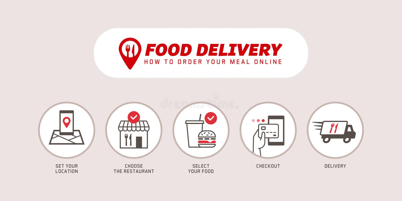 How to order food online using a smartphone app vector illustration