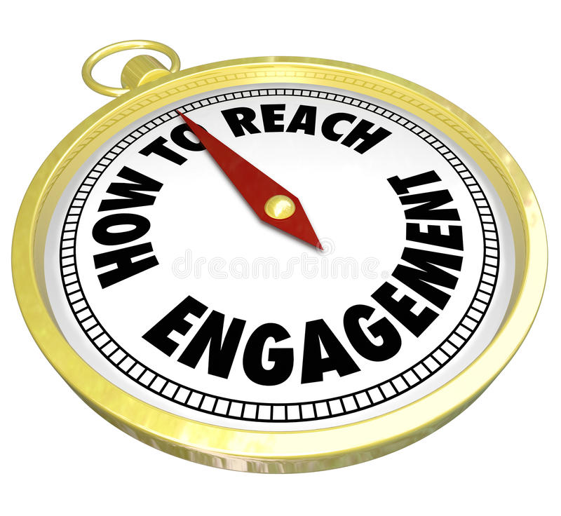 How to Reach Engagement Gold Compass Involvement Interaction. How to Reach Engagement words on a gold compass directing or guiding you to greater involvement vector illustration