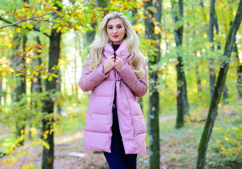 How to rock puffer jacket like star. Puffer fashion concept. Outfit prove puffer coat can look stylish. Jackets everyone stock photography